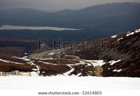 View over Loch Morlich from Cairngorm Mountain, Scotland on April 25th, 2010 - stock photo