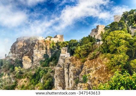 View over Medieval Castle of Venus in Erice, Sicily - stock photo