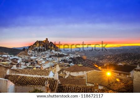 View over Montefrio in Granada, Spain towards the Moorish castle on the hill. - stock photo