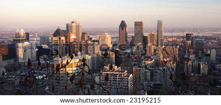 view over Montreal skyline in the late afternoon - stock photo