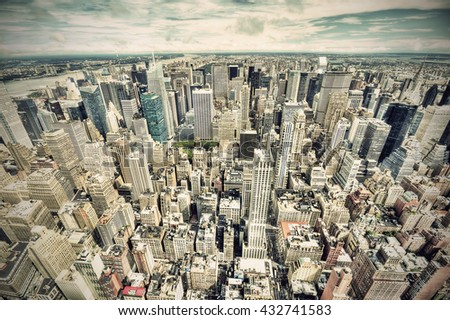view over New York city from Empire State building, vintage filtered style  - stock photo