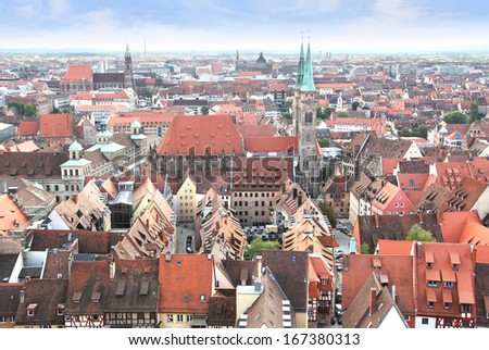 View over Nuremberg old town from the Kaiserburg, Franconia, Bavaria, Germany. - stock photo
