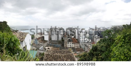 View over old Salvador - stock photo