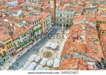 View over Piazza delle Erbe (Market's square) in Verona, Italy - stock photo