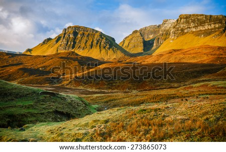 View over Quiraing, Isle of Skye, Scotland, in the early morning lights and colors - stock photo