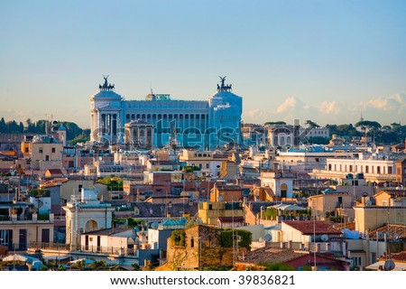 view over Rome from the Janiculum Hill, Rome, Italy - stock photo