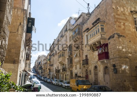 View over street in Valleta, capital of Malta - stock photo