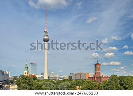 View over the Alexanderplatz in Berlin Mitte, Berlin, Germany, Europe - stock photo