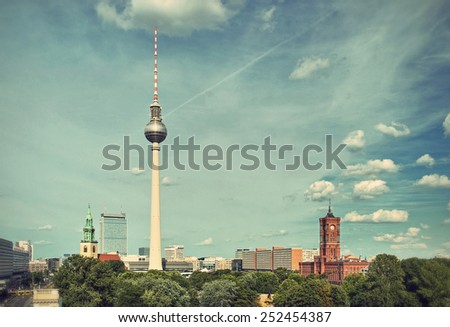 View over the Alexanderplatz in Berlin Mitte, Berlin, Germany, Europe, vintage style - stock photo