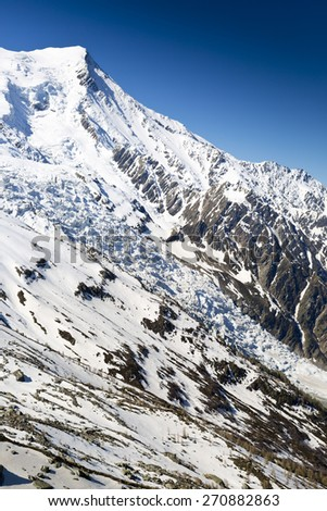 View over the Alps from Plan de l'Aiguille, Chamonix, France - stock photo