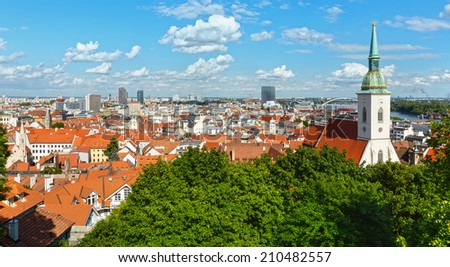 View over the Bratislava City from the castle (Slovakia). - stock photo