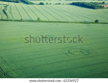 view over the early summer green fields from the air; East Anglia; UK; beautifu - stock photo