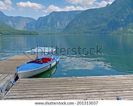 View over the lake Hallstatt. - stock photo
