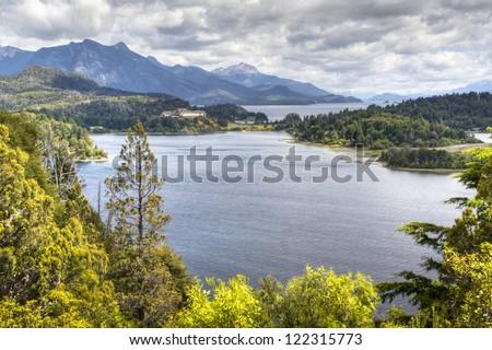 View over the lakes on Circuito Chico near Bariloche, Argentina - stock photo