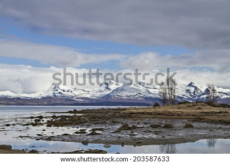 View over the Ofotenfjord south of Narvik - stock photo