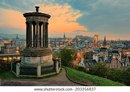 View over the Old Town of Edinburgh Scotland at sunset - stock photo