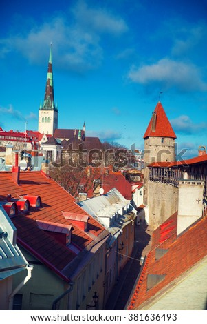 View over the Old Town of Tallinn, Estonia - stock photo