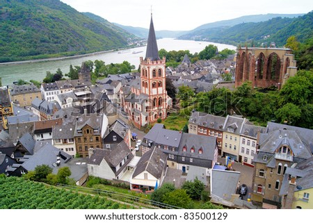 View over the quaint town of Bacharach along the famous Rhine River in Germany - stock photo