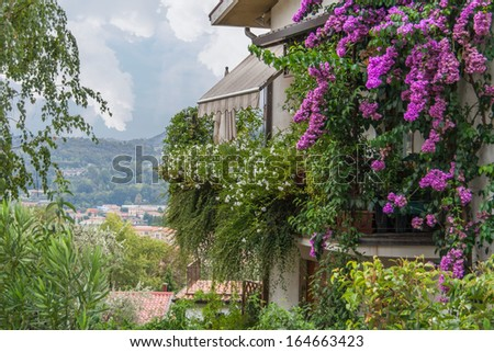 View over the Roman village from the little house with Bougainvilleas - stock photo