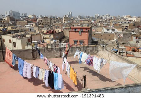 View over the rooftops of medina in Casablanca, Morocco - stock photo