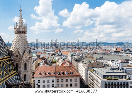 View over the rooftops of Vienna from the north tower of St. Stephen's Cathedral. - stock photo