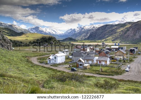 View over the town of El Chalten, Argentina - stock photo
