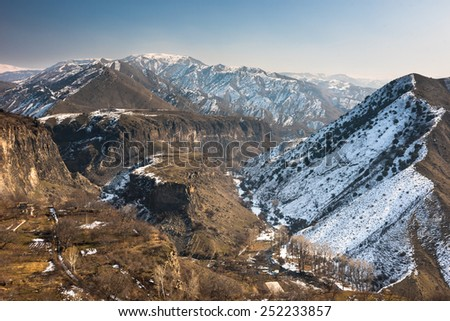 View over the valley in the Armenian village Garni - stock photo
