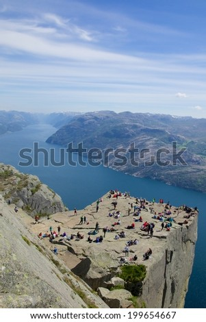 View over the world famous Preikestolen - or pulpit rock - over the Lysefjord, Norway - stock photo