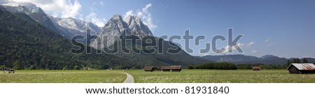 view over the zugspitze - stock photo