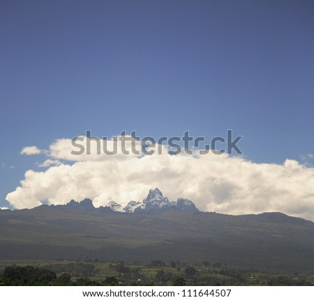 View over to Mount Kenya Kenya Africa - stock photo