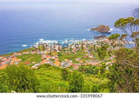 View over village Porto Moniz, Madeira, Portugal - stock photo