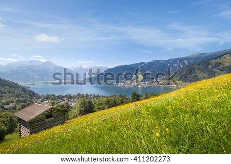 View over Zell am See in Summer, Salzburg, Austria - stock photo