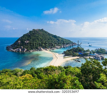 View point from top of  NangYuan and Tao island in Suratthani Thailand - stock photo