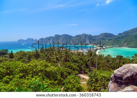 View Point Koh Phi Phi Don in andaman sea, Phuket, Krabi, South of Thailand. - stock photo