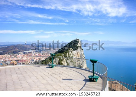 View point on the top of Gibraltar rock, on the far left La Linea town in Spain, on the right Mediterranean Sea. - stock photo