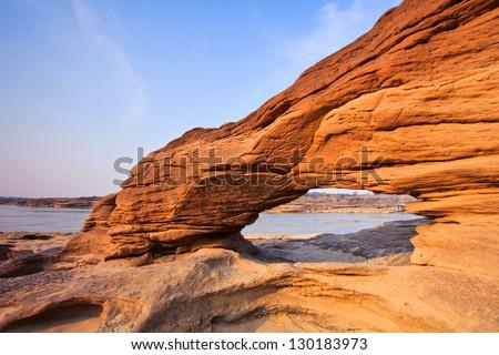 View Sam-Pan-Bok Grand Canyon in thailand - stock photo