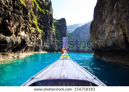 View Ship Nose Front View Phi Phi Island Krabi Province Southeast Asia thailand  - stock photo