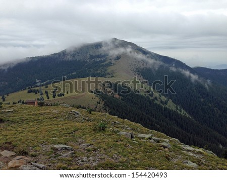 VIew south towards Sierra Blanca from Lookout Point in Ski Apache in New Mexico - stock photo