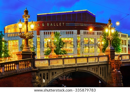 View the national Opera and Ballet of the Netherlands.Amsterdam. - stock photo