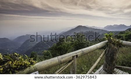 View the natural beauty of the hill at sunrise Doi Ang Khang mountains Chiang Mai Thailand - stock photo