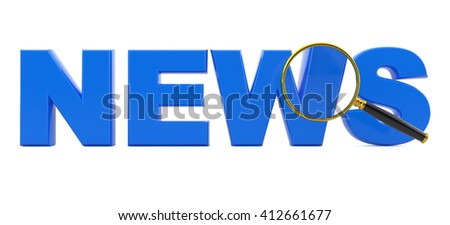 """View through a magnifying glass of the text of """"news"""".3d illustration - stock photo"""