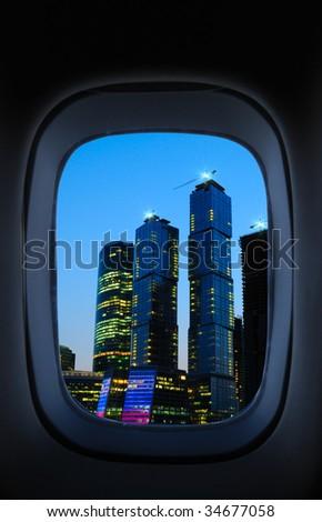 View through an airplane window - stock photo