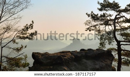 View through pine and beech branches to deep misty valley within daybreak. Sandstone peaks increased from foggy background, the fog is pink and orange due to sunrise.  - stock photo