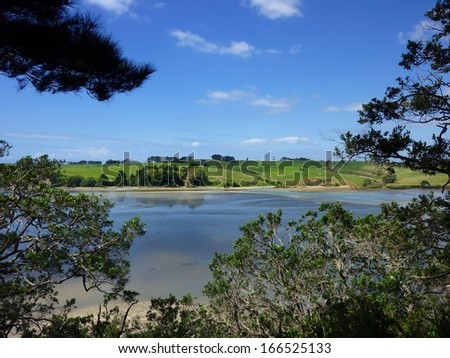 View through trees over the Okura River near Auckland with green hills in the background - stock photo