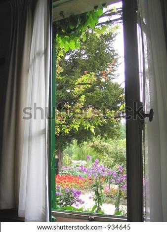 view through window out onto garden - stock photo