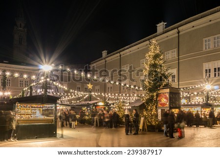 view to a christmas market - stock photo