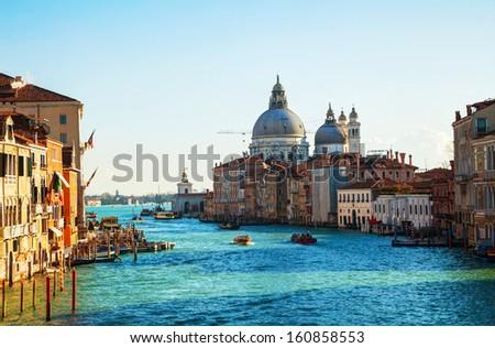 View to Basilica Di Santa Maria della Salute in Venice on a sunny day - stock photo