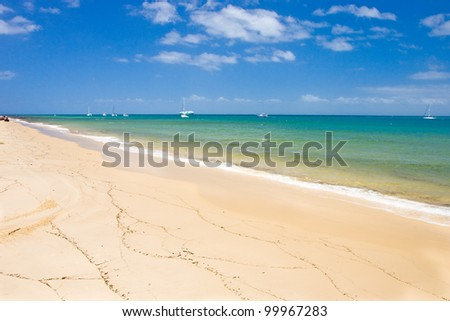 View to beach in beautiful sunny weather, Moreton Island, Australia - stock photo