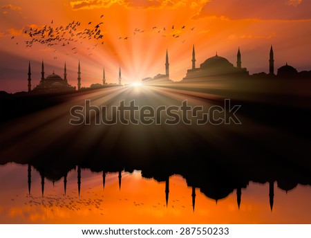 View to Blue Mosque and Hagia Sophia in Istanbul from Marmara Sea - stock photo