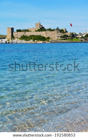 View to Bodrum castle, Turkey. Built in XV century, now the castle housed the Museum of Underground Archeology - stock photo